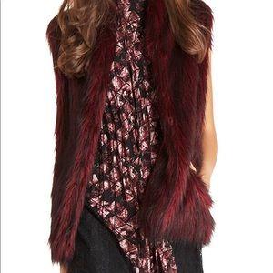BCBGeneration Maroon Faux Fur Vest with Pockets